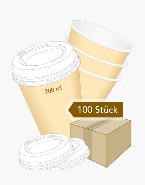 Coffee to Go - Becher 200 ml - 100 Stk.